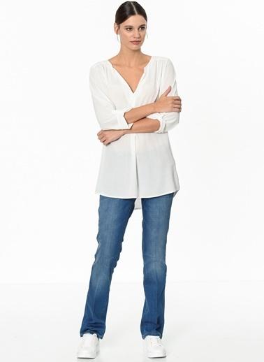 Fashion Friends V Yaka Uzun Kollu Şifon Bluz Ekru
